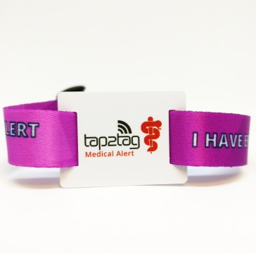 Tap2Tag Epilepsy Fabric Wristband front
