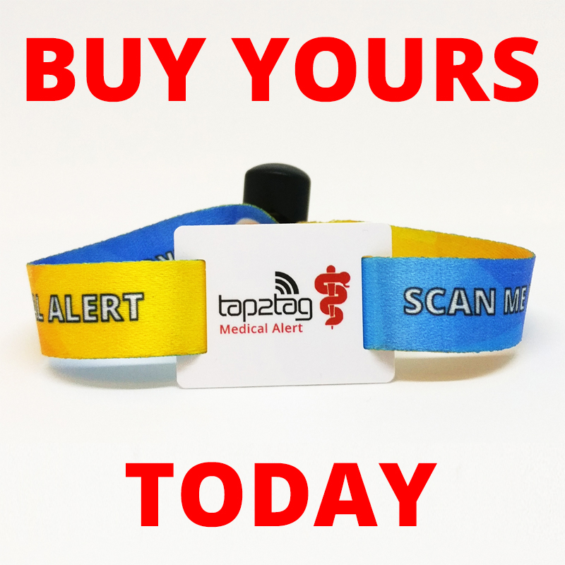 Tap2Tag Fabric wristband for diabetes