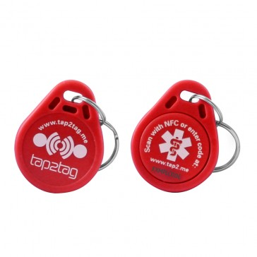 Tap2Tag Medical Red Plastic Key Fob (No subscription required)