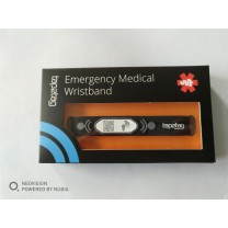 Black Adjustable Medical Alert Wristband with NFC and QR Code